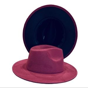 NEW Two Tone Burgundy Black Wide Brim Fedora Hat